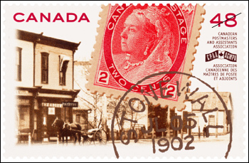 Stamp issued by Canada Post  to commemorate the 100th anniversary of the Canadian Postmasters and Assistants Association. Shows archival photos of Stonewall Manitoba and original 2 cent stamp with head of Queen Victoria.